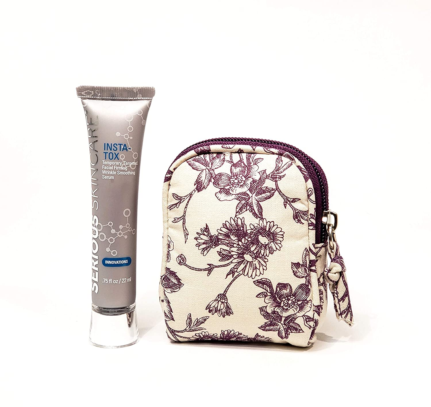 Serious Skincare INSTA-TOX .75 oz. with Plum Toile Cosmetic Bag