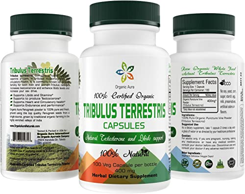 Organic Aura Tribulus Terrestris Capsules with Maximum Steroidal Saponins. Natural Energy Enhancer, Mood Support, Boosts Libido and Urinary Tract Protection. 100 Natural and Non-GMO.