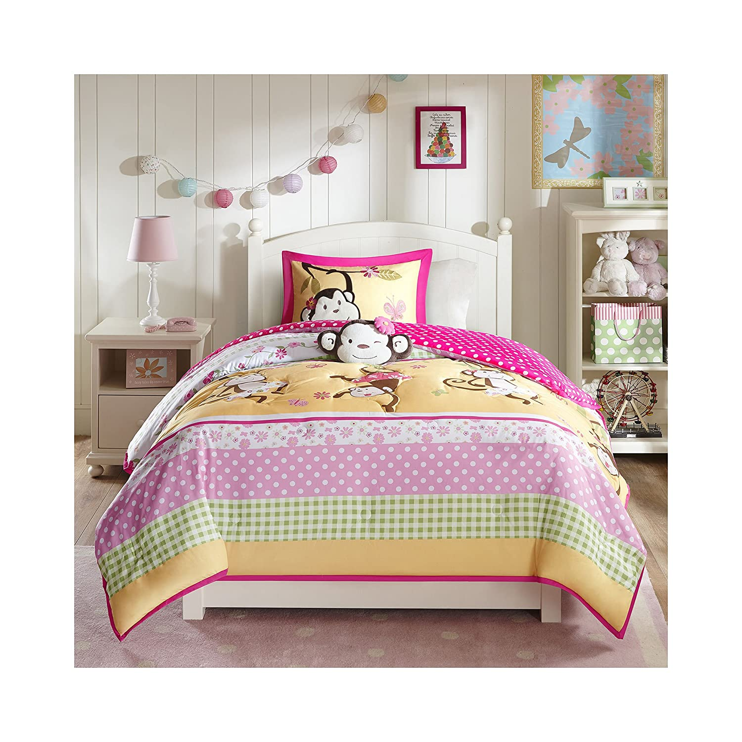 4 Piece Comforter Set, Pink, Full/Queen