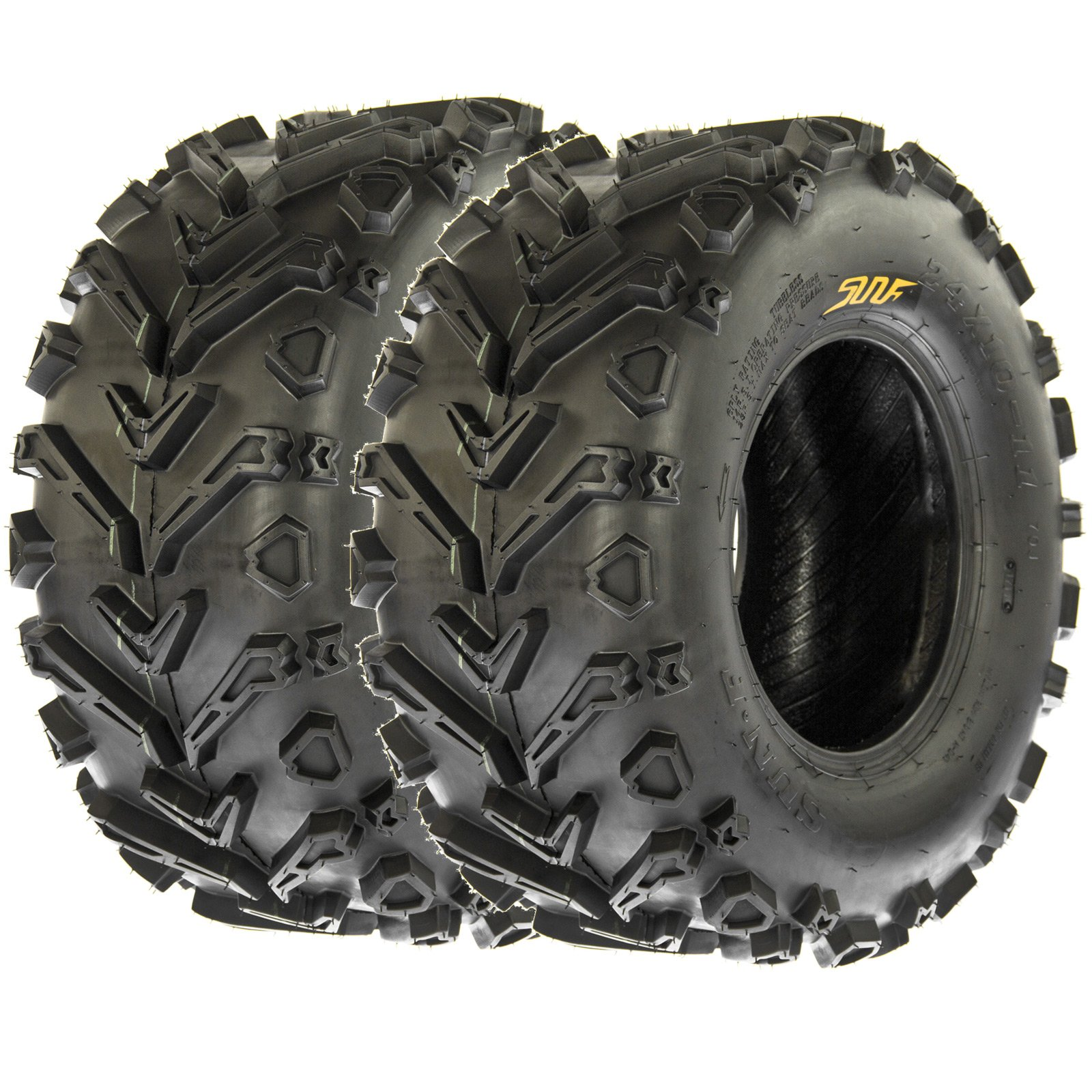 SunF 25x10-12 25x10x12 All Terrain Mud ATV UTV Tires 6 PR A041 (Set pair of 2)