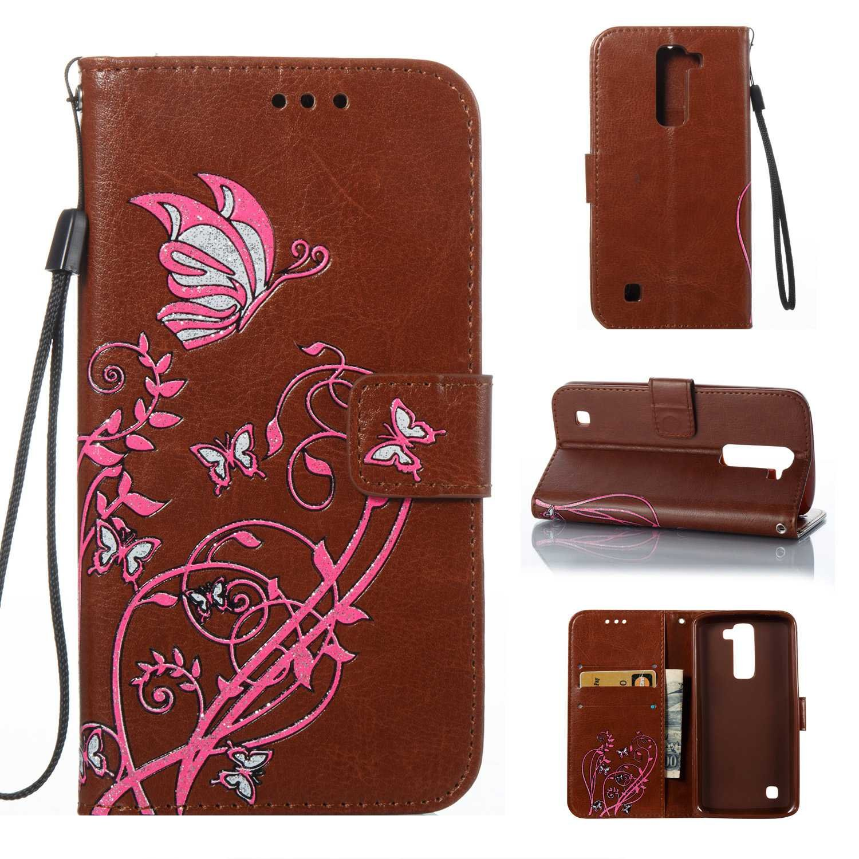 HCUI Compatible avec LG K7 / K8 Coque Cuir Étui Wallet Housse, Portefeuille de Protection Coque avec Fonction Support Magnétique Pochette Antichoc Coque pour LG K7 / K8 - marron.