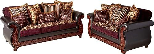 Furniture of America Kildred 2-Piece Fabric and Leatherette Sofa Set
