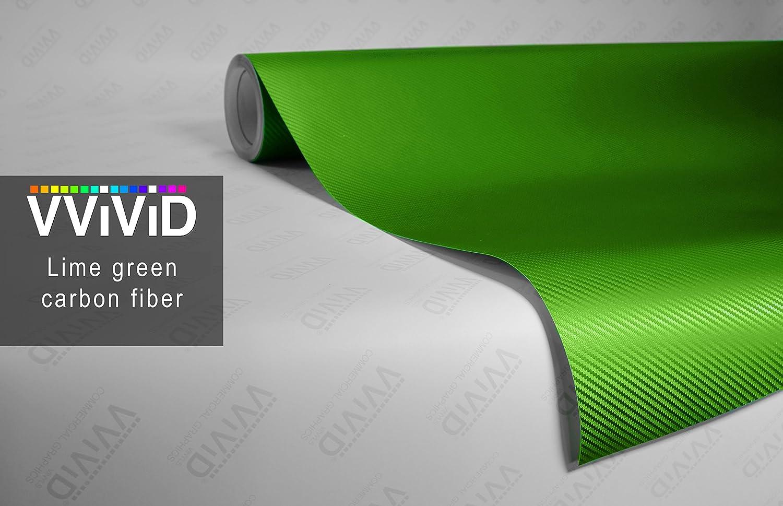 Vvivid 4ft x 5ft lime green 3d carbon fiber vinyl car wrap film