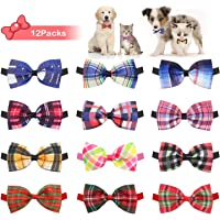 BWOGUE 12pcs Plaid Dog Bow Ties, Adjustable Puppy Cat Bow Ties Collar,Dog Bowties for Small Dogs, Puppies and Cats Dog…