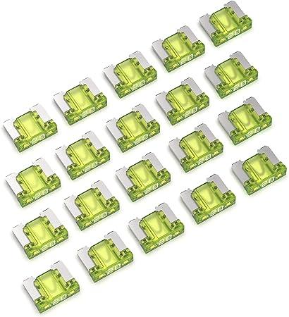 Auprotec Mini Lp Kfz Sicherungen Flachstecksicherungen 2a 30a Auswahl 20a Ampere Gelb 20 Stück Auto
