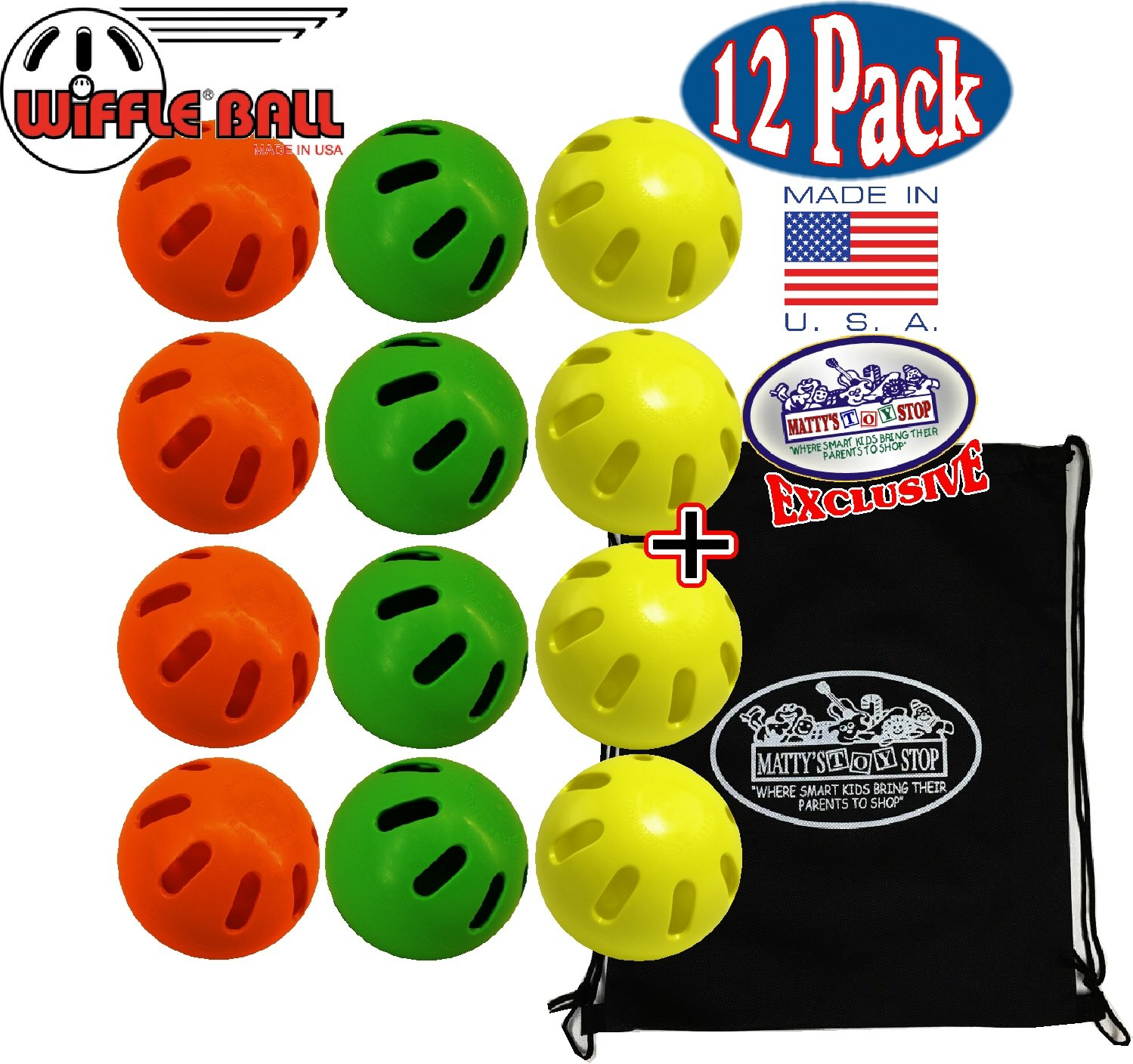WIFFLE Balls Yellow, Green & Orange Official Size Baseballs Matty's Toy Stop Set Bundle with Storage Bag - 12 Pack (4 Yellow, 4 Green & 4 Orange) by WIFFLE (Image #1)