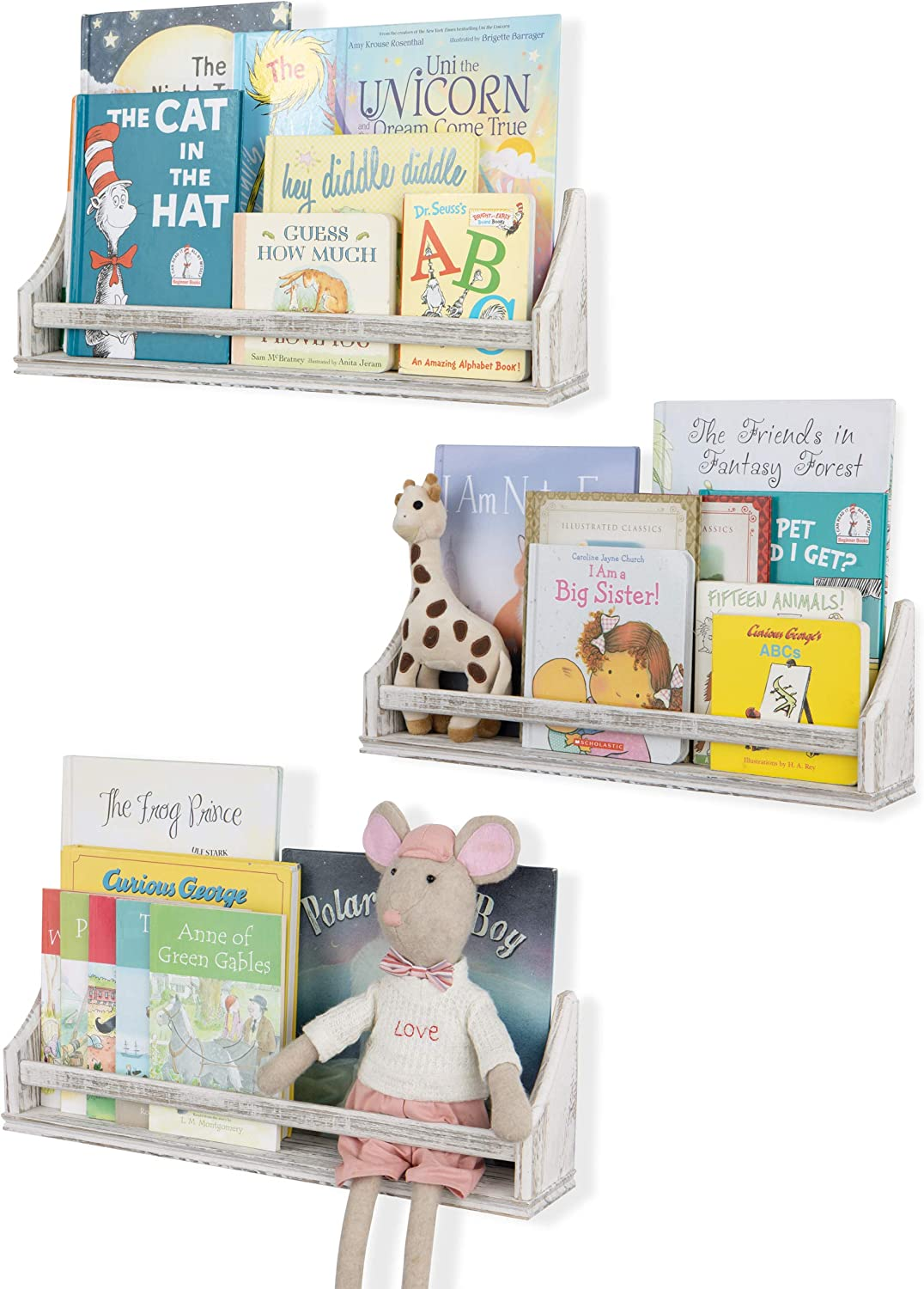 Nursery Décor Wall Shelves 3 Shelf Set Rustic Burnt White Long Crown Molding Floating Bookshelves for Baby and Kids Room, Book Organizer Storage Ledge, Display Holder for Toys, CDs, Baby Monitor