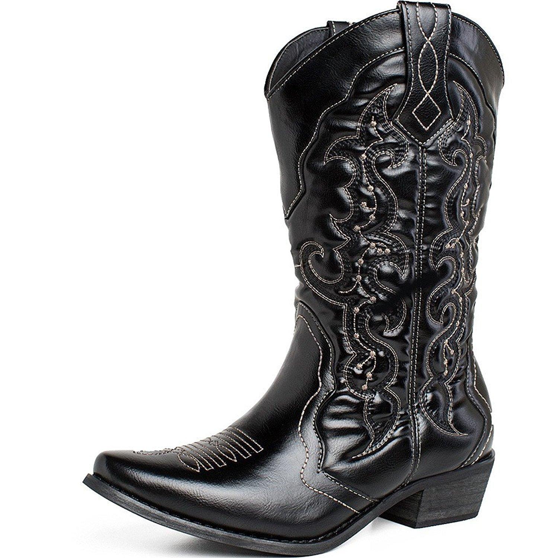 fad50ef85e5 SheSole Womens Wide Calf Cowboy Cowgirls Boots