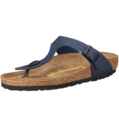a5514ff1a18 Birkenstock Unisex Adults Gizeh Open Toe Summer T-Bar Birko Flor Sandals -  Blue -
