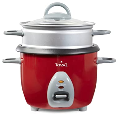 Rival 6-Cup Rice Cooker with Steamer Basket, Red (RC61)