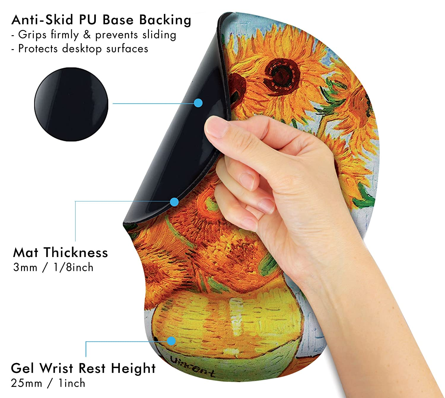 Round Large Mousing Area Great for Gaming /& Work Claude Monet Water Lilies VI Ergonomic Design Mouse Pad with Wrist Rest Hand Support Matching Microfiber Cleaning Cloth for Glasses /& Screens
