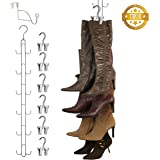 New Improved System- Boot STAX: Vertical Hanging Boot Rack, Boot Storage, Boot Organizer: 1 Vertical Rod That Swivels + 6 Silver Boot Hangers (Silver)