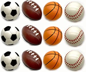 Adorox 12 Pack Sports Balls Stress Relief Squeeze Therapy (1 Dozen)