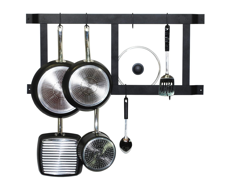 Amazon.com: Rogar Ultimate Wall Mounted Pot Rack Vertical/Horizontal In  Black: Kitchen Pot Racks: Kitchen U0026 Dining
