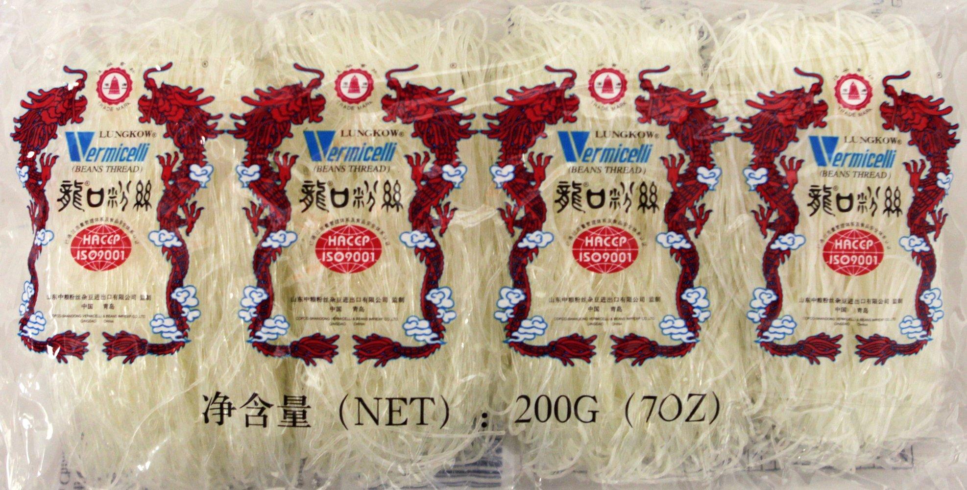(龙口粉丝) Lungkow Pagoda Green Been Threads Crystal Noodle - Vermicelli 7oz (pack of 6) by Pagoda