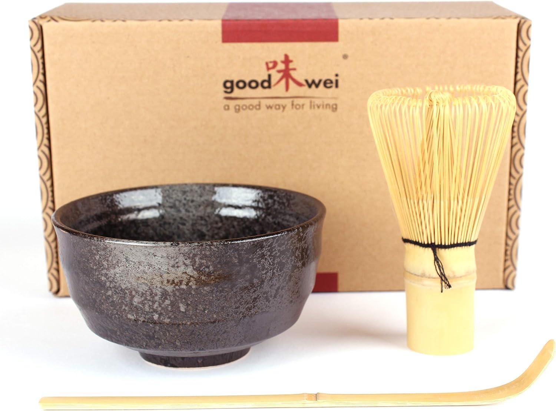 Goodwei Juego de Té Matcha – Bol de té y batidor incl. Caja de regalo (negro)