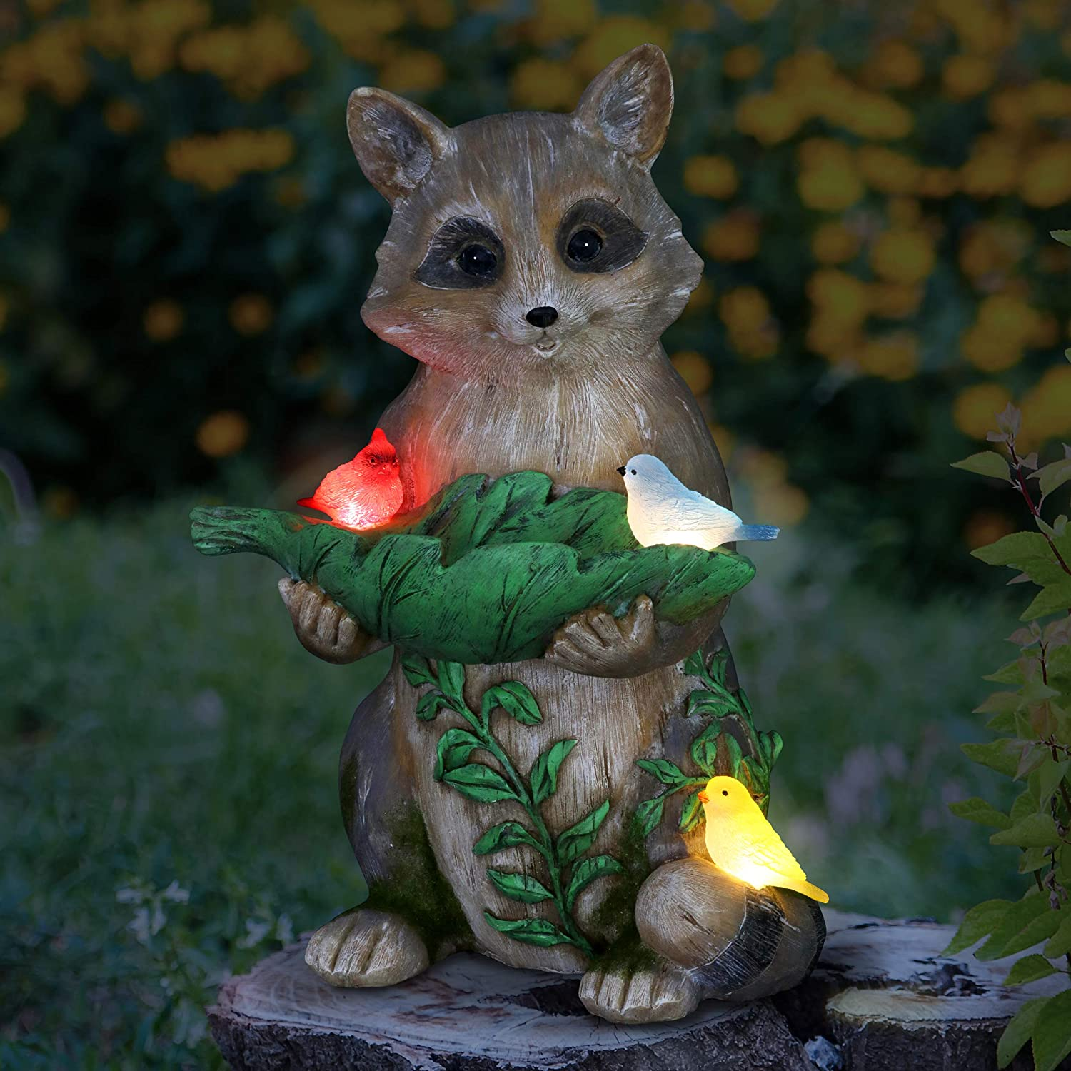 """Exhart Solar Raccoon & Birds Garden Statue w/Solar LED Light 