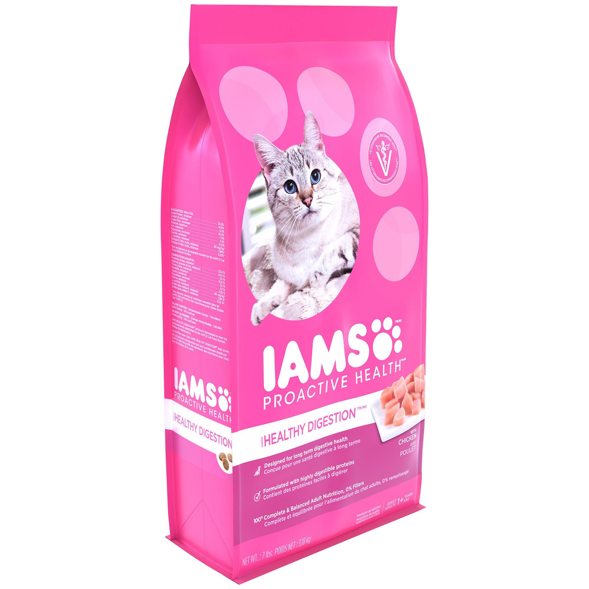 Iams PROACTIVE HEALTH Adult Healthy Digestion Dry Cat Food Chicken Turkey, 7 lb. Bag
