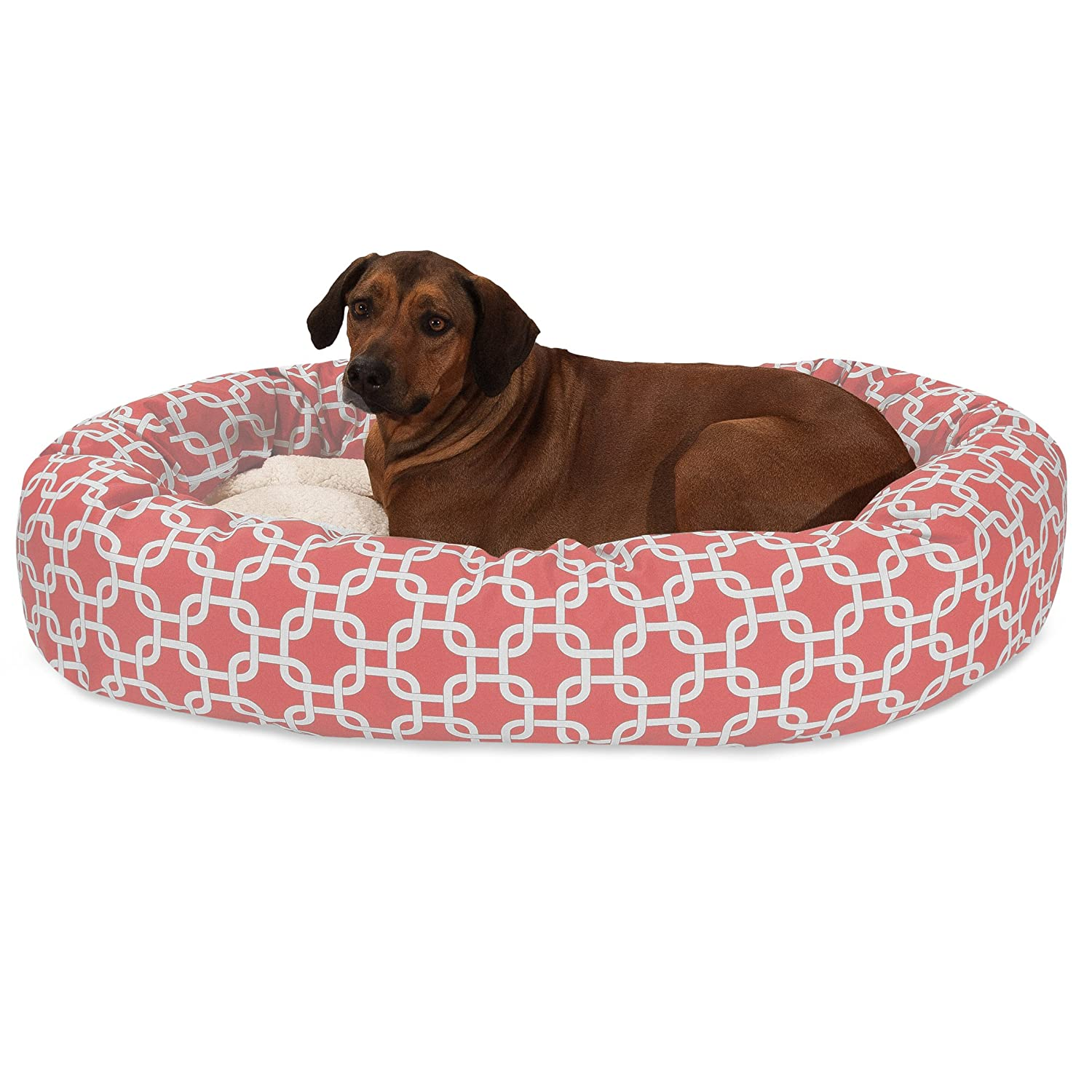 Coral 52Inch24 Inch Yellow Links Sherpa Bagel Dog Bed