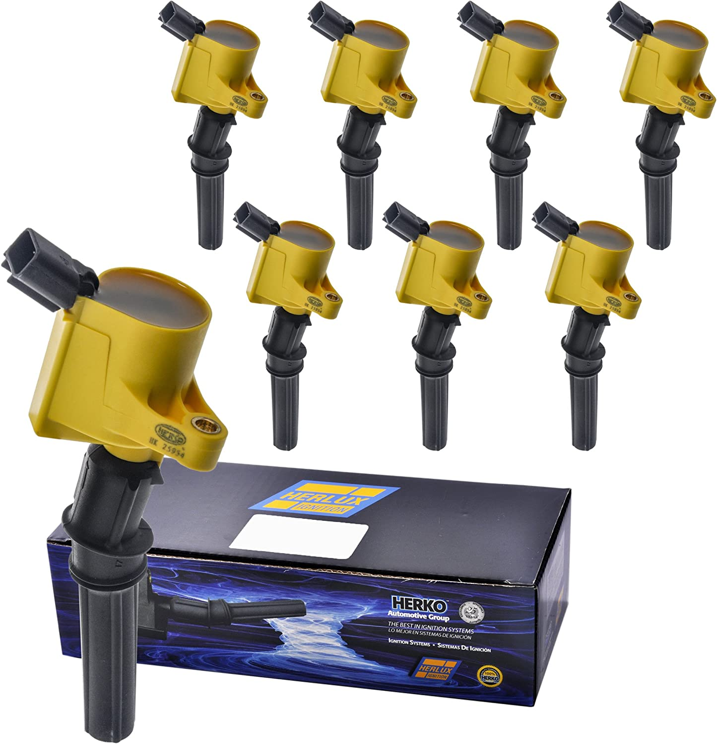 Set of 4 Yellow Aftermarket Ignition Coils C1139 /& Motorcraft Spark Plugs SP493