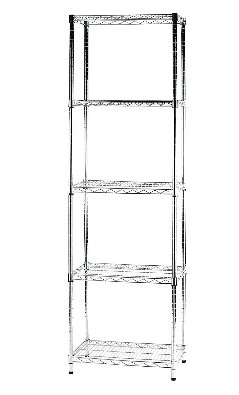 ARCHIMEDE Sistema Componibile Scaffale Cinque Ripiani, Metallo, Cromato, 61.00x36.00x200.00 cm Serena Group 5X356020