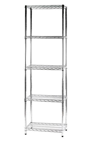Scaffalature Cromate Componibili.Archimede Sistema Componibile Scaffale Cinque Ripiani Grigio Cromato 60 X 35 X 200 Cm