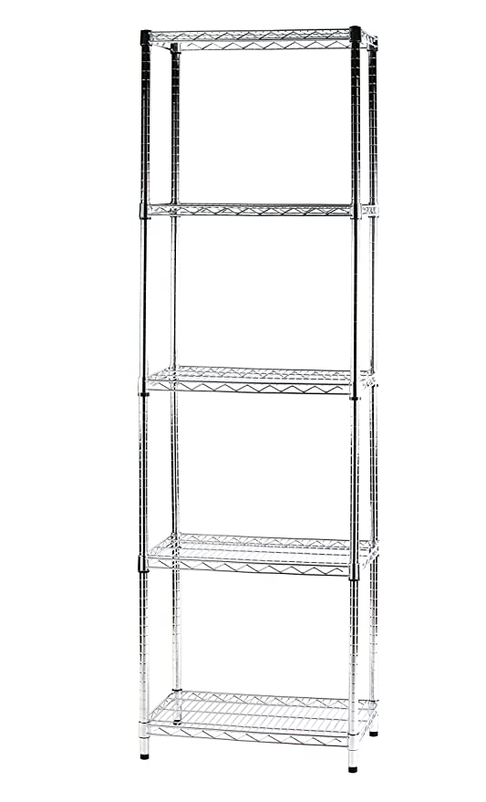 Scaffali In Metallo Cromato.Archimede Sistema Componibile Scaffale Cinque Ripiani Grigio