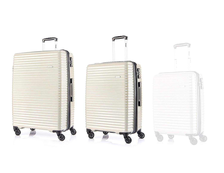 Verage S-PET Hartschale-Trolley Handgepäck erweiterbarer Reisekoffer Vortex in Beige Gold S-19+L-28, mit TSA Schloss, 4x360°-Zwillingsrollen 4x360°-Zwillingsrollen Verage S-PET VORTEX