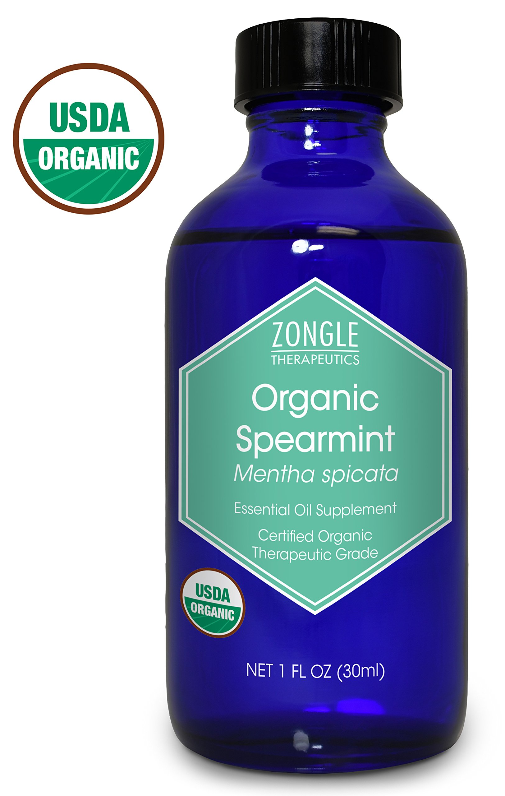 Zongle USDA Certified Organic Spearmint Essential Oil, Safe to Ingest, Mentha Spicata, 1 oz