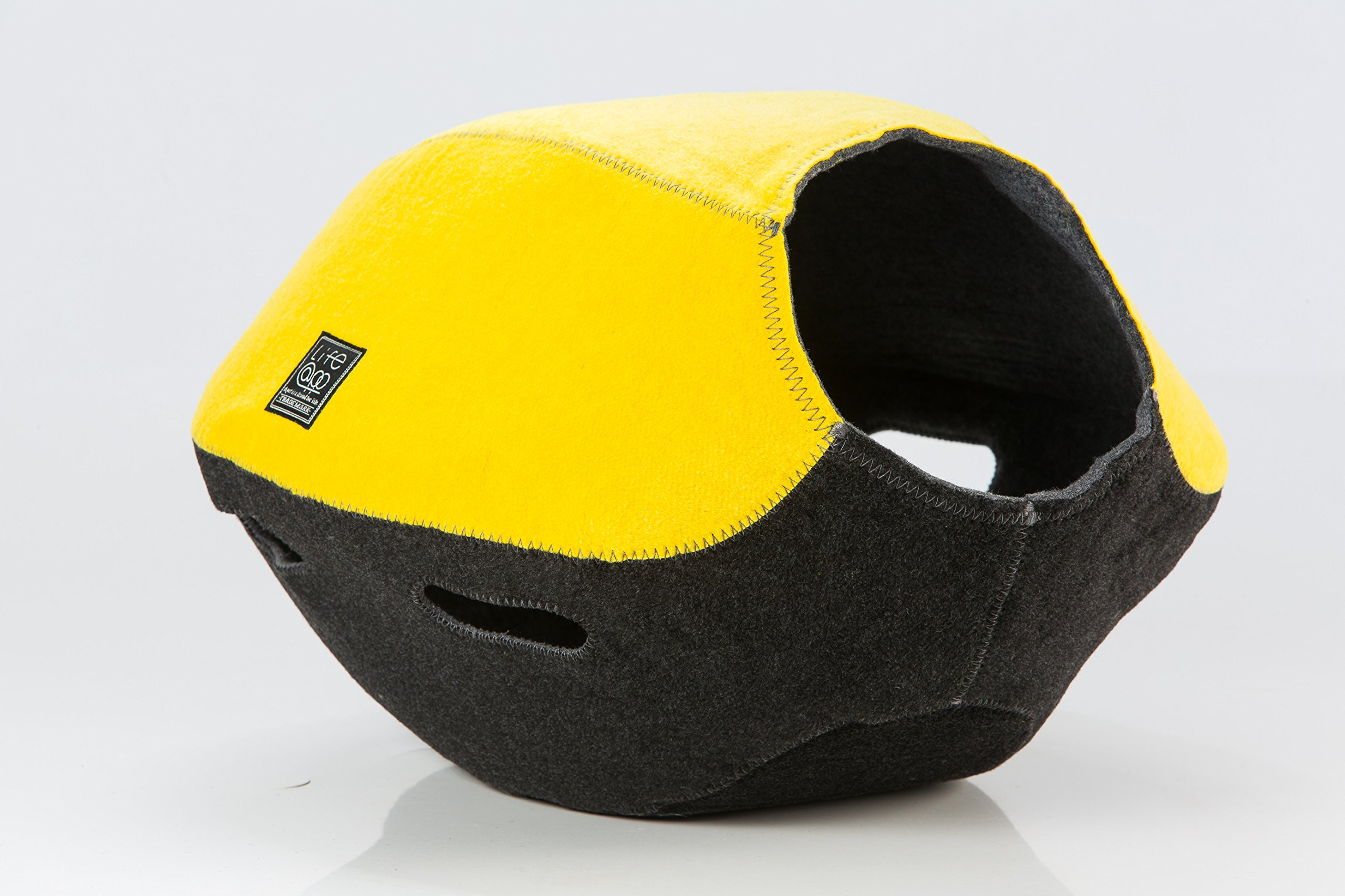 Life@pp 2 in 1 Cat Cave Bed Pet Bowl-Shaped Bed Mat Hand-Made Nest Comfortable Cozy (Yellow)