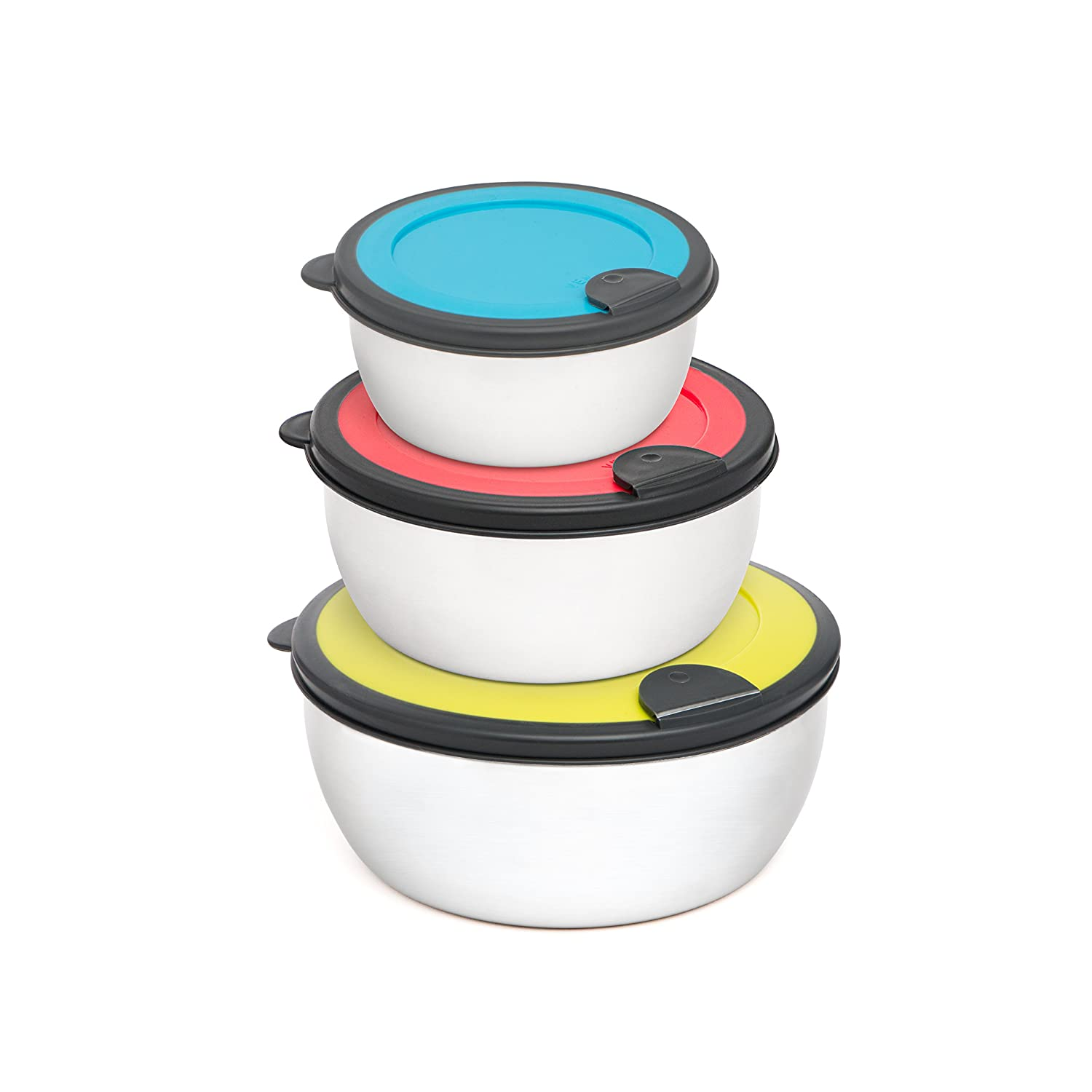 +Steel 18/8 Stainless Steel Food Container Set of 3, Nesting Leak Proof Food Storage Set with lids BPA Free