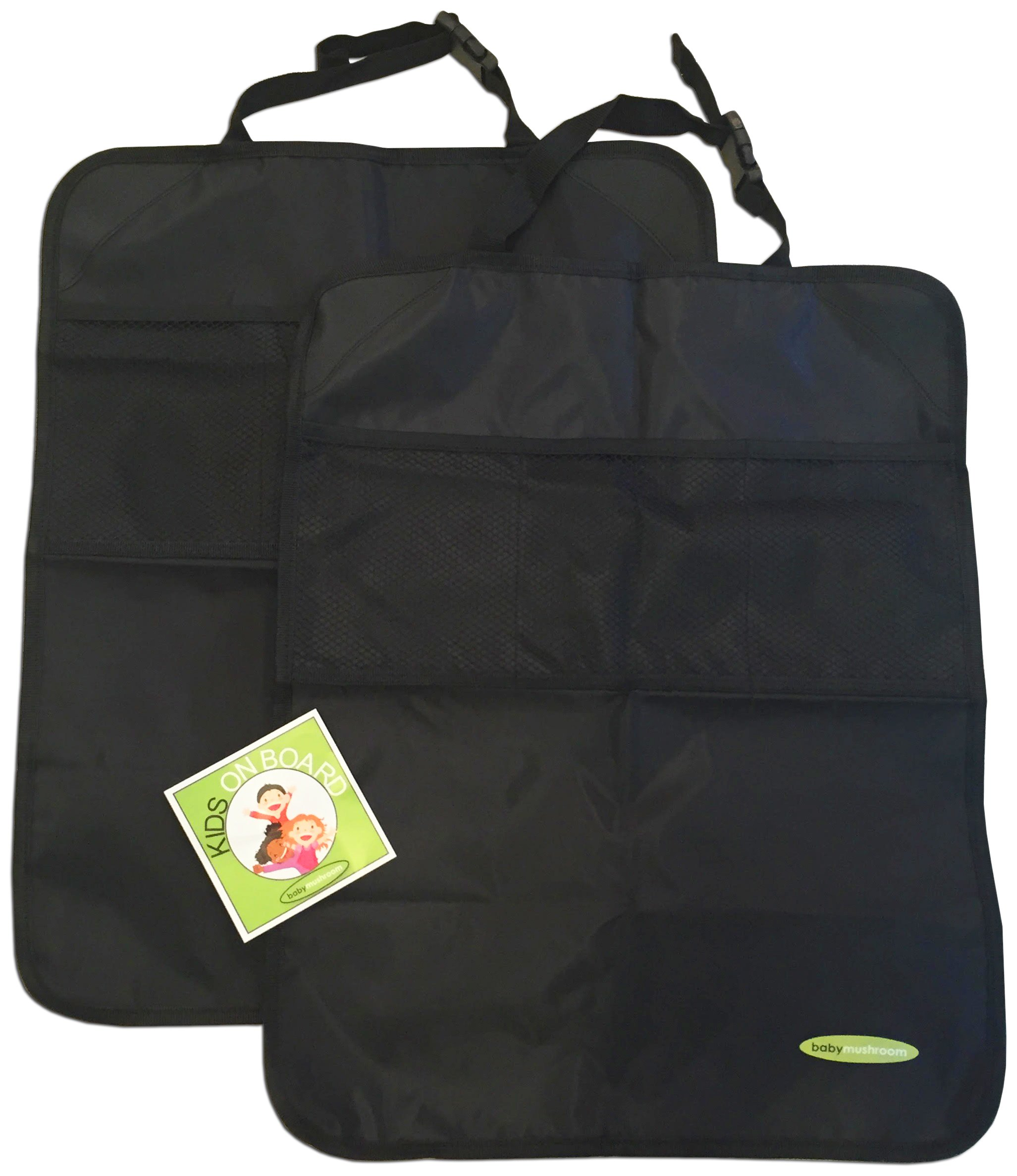 Premium Kick Mats by Baby Mushroom (2 Pack) - Superior Quality Waterproof Car Seat Back Protectors w/Storage and Reinforced Corners. Bonus Kids on Board Decal! Protects Upholstery, Fabric & Leather. by Baby Mushroom