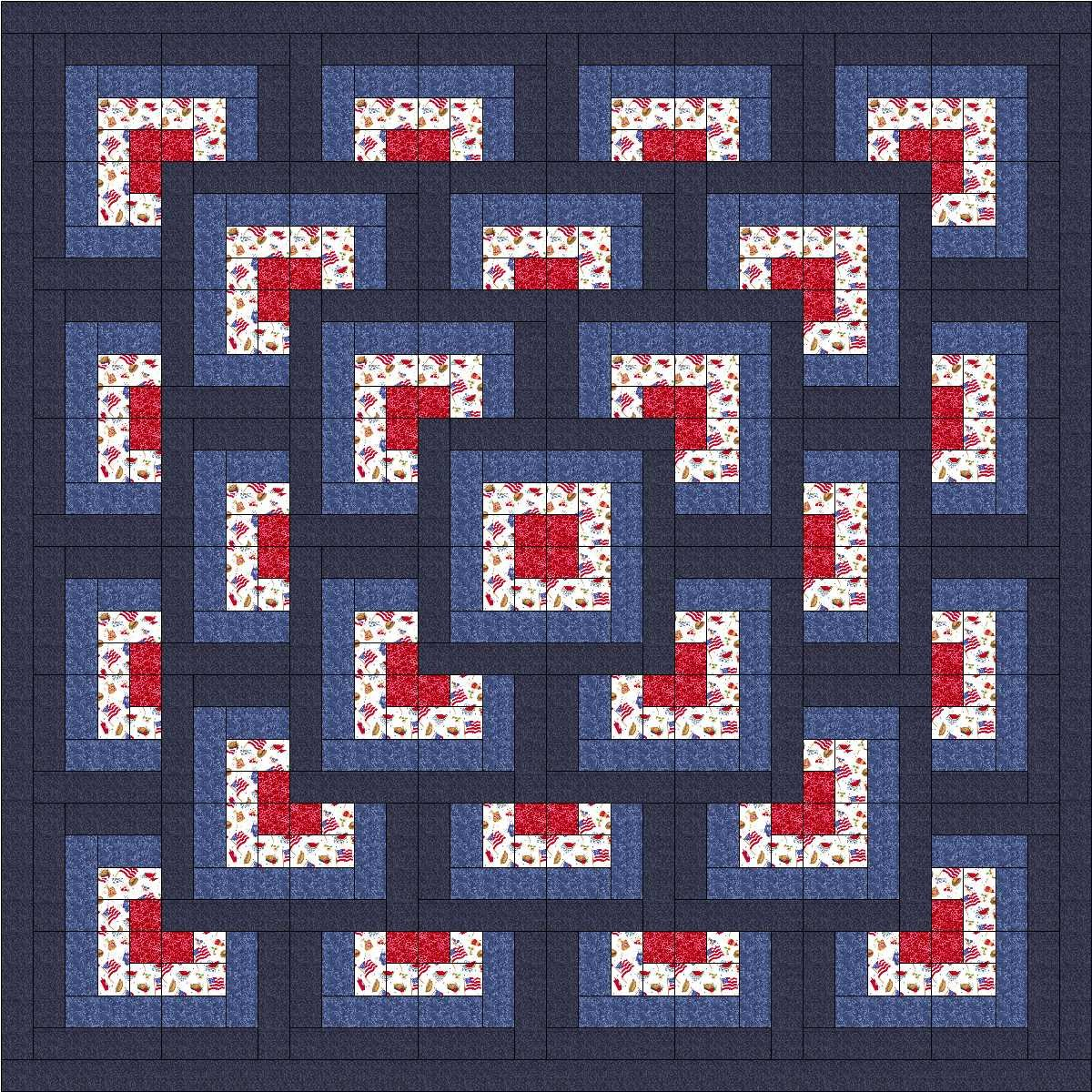 Easy Quilt Kit Boxed Maze/Patriotic/EXPEDITED SHIPPING/QUEEN Galaxy/RJR