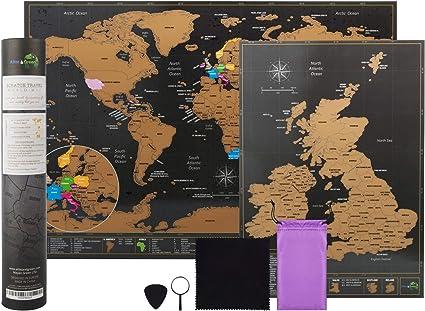 Mapa del mundo para rascar, de la marca Atlas&Green, con mapa de Reino Unido, kit de accesorios y tubo: Amazon.es: Oficina y papelería