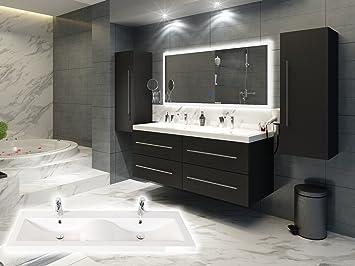 Elegantes Doppel Badezimmer Möbelset In Weiß Oder Anthrazit Inkl. 2 X  Hochschrank Doppelwaschplatz In