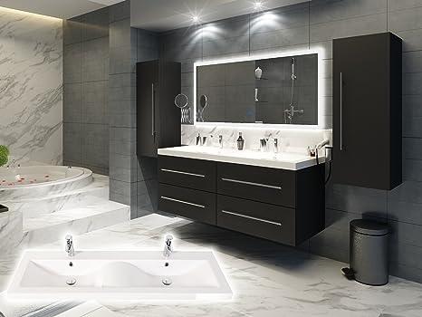 Elegantes Doppel-Badezimmer Möbelset in weiß oder Anthrazit inkl. 2 x  Hochschrank Doppelwaschplatz in Wellenform und großen Spiegel (Anthrazit ...