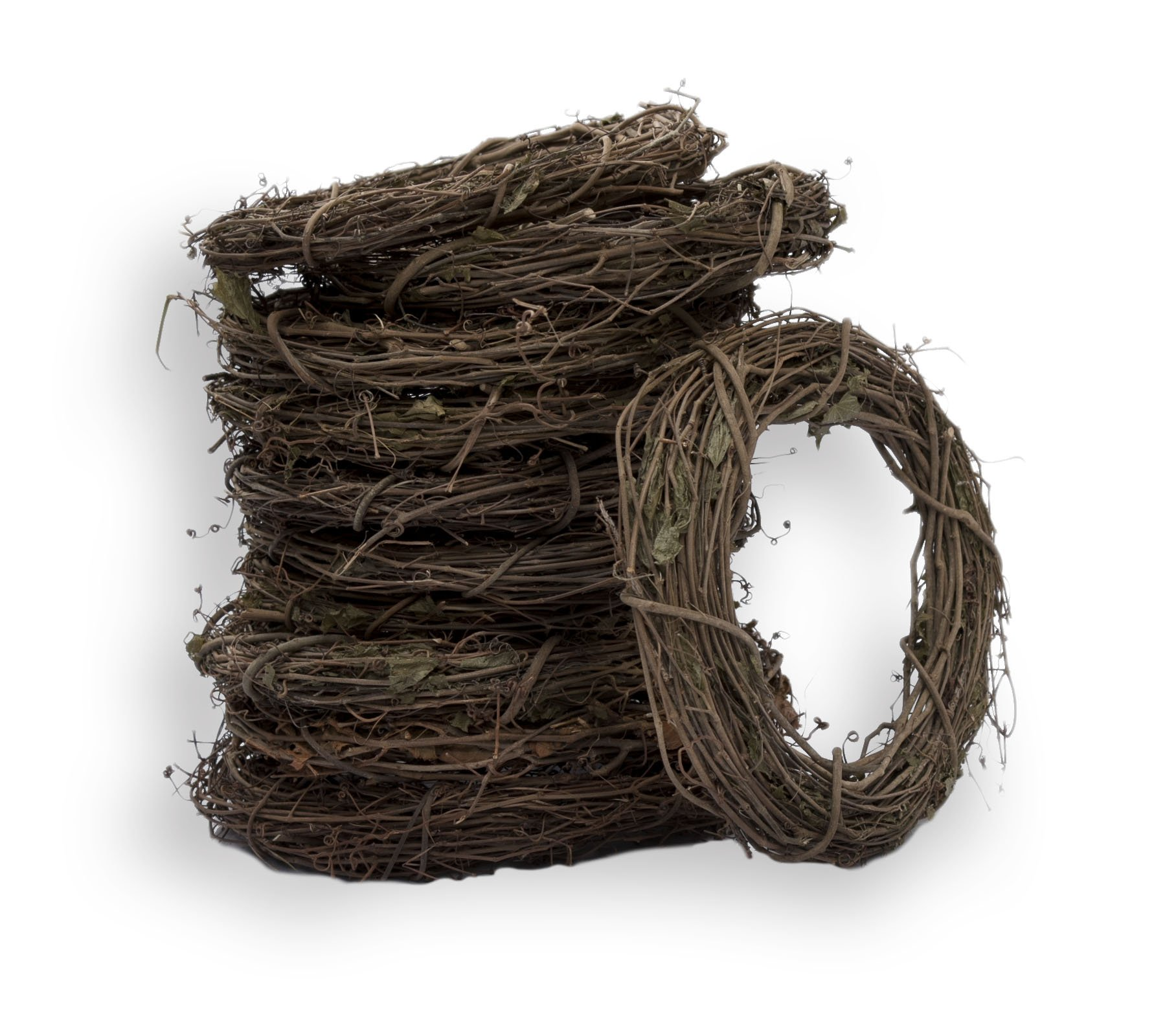 Furrow & Vine - 14'' Natural Grapevine Wreath Base (Pack of 10) - Handcrafted in the USA – DIY Crafting - Decorates any Door or Wall Inside or Outside
