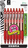 Zebra Pen Z-Grip Retractable Ball Point Pen, Medium Point, 1.0mm, Red Ink, Clear Barrel, 7-Count