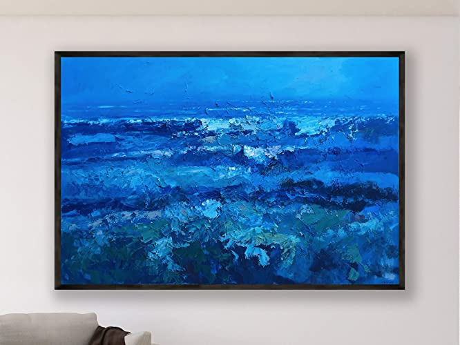 Magnificent Blue Abstract Ocean Painting On Canvas 60 Inch Original Extra Large Wall Art Home Decor Framed Download Free Architecture Designs Embacsunscenecom