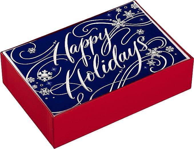 Crystal Holiday Card Set of 8 Christmas Cards Boho Purple Blue Notecard Set
