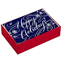Hallmark Boxed Holiday Cards, Happy Holidays (40 Blue and Silver Cards with Envelopes)