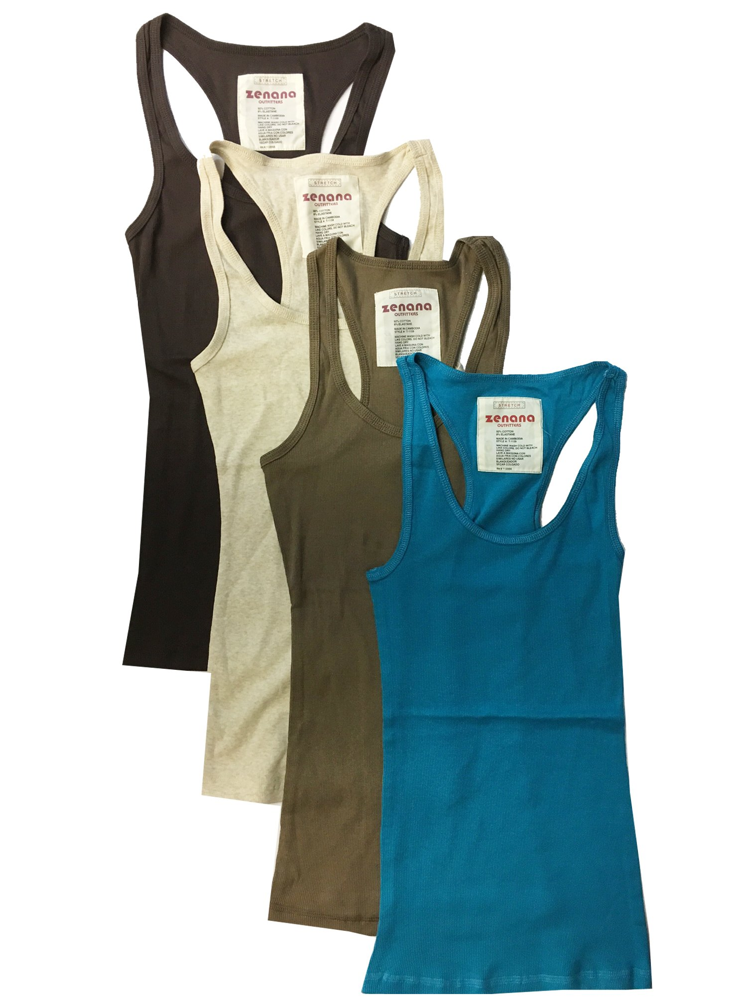 Zenana Outfitters 4 Pack Womens Basic Ribbed