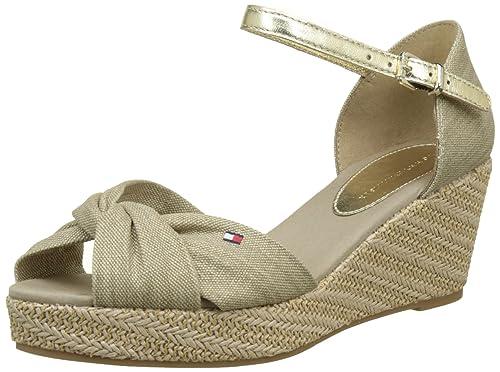 Tommy Hilfiger Iconic Elba Metallic Canvas, Alpargata para Mujer, Beige (Sand 102), 42 EU: Amazon.es: Zapatos y complementos