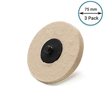 Glass Polish GP11102 Quick Lock Dense Felt Polishing Pad, Buffing Wheel for Stone and Metal Surfaces/Ø 3 inch/Pack of 3 Pads: Automotive [5Bkhe1403858]
