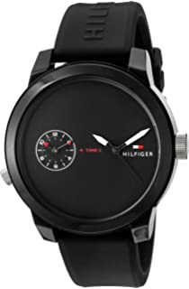 Tommy Hilfiger Mens Denim Quartz Watch with Rubber Strap, Black, 20 (Model: