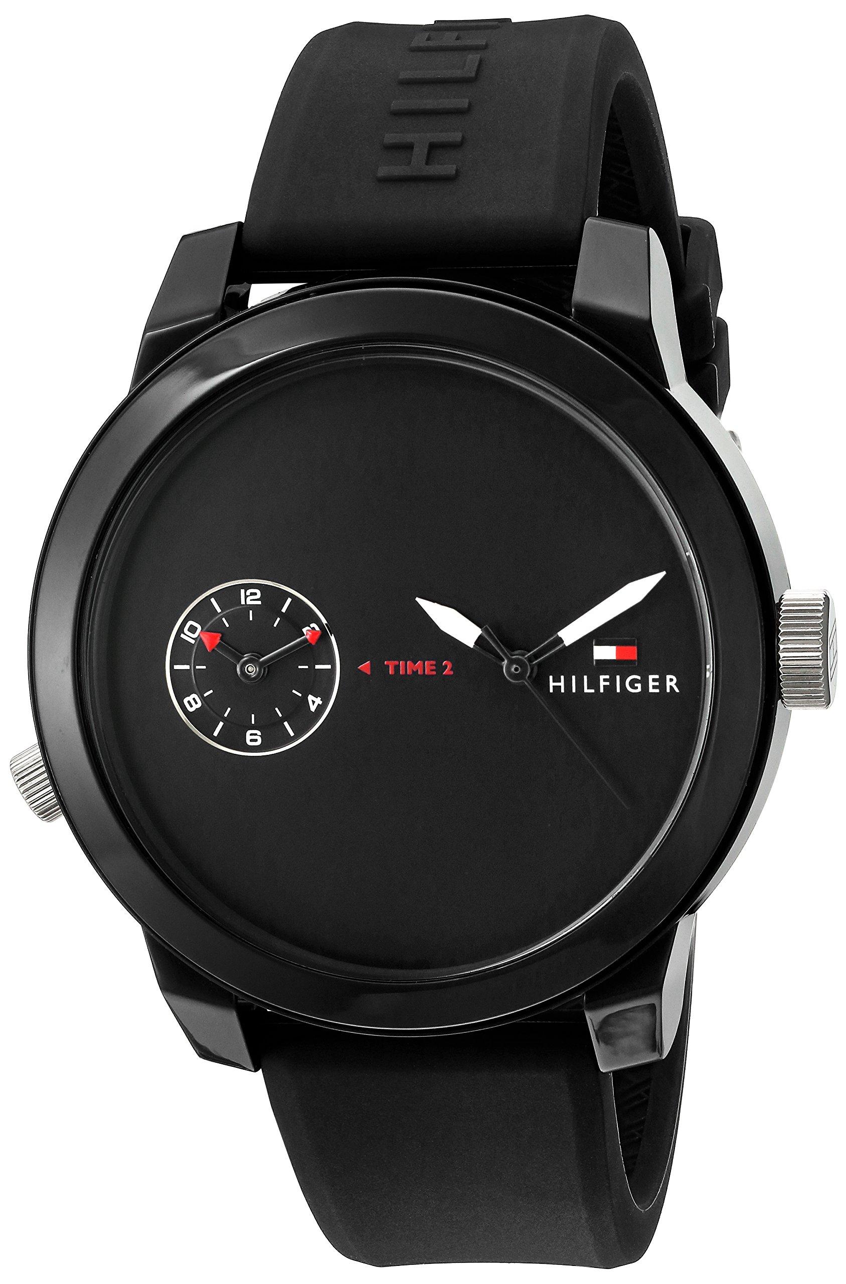 Tommy Hilfiger Men's 'Denim' Quartz Plastic and Rubber Casual Watch, Color Black (Model: 1791326)