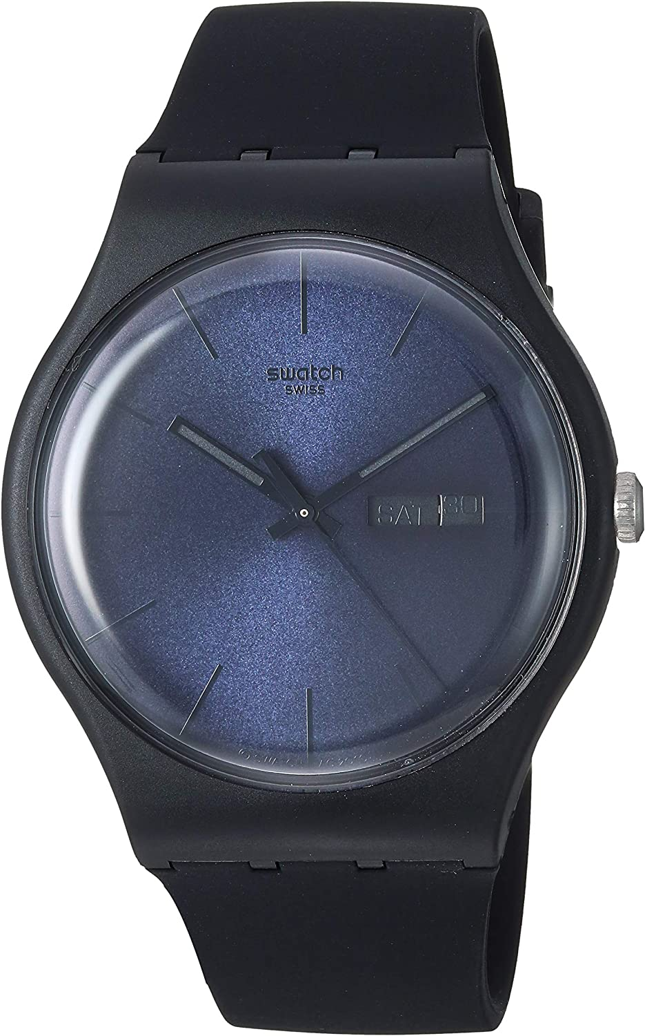 Swatch New Gent Quartz Silicone Strap, Black, 20 Casual Watch (Model: SUOB702)