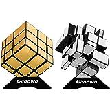 Ganowo Mirror Speed Cube Puzzle 3x3x3 Gold Silver Mirror Magic Cube Set 2 Pack Kids