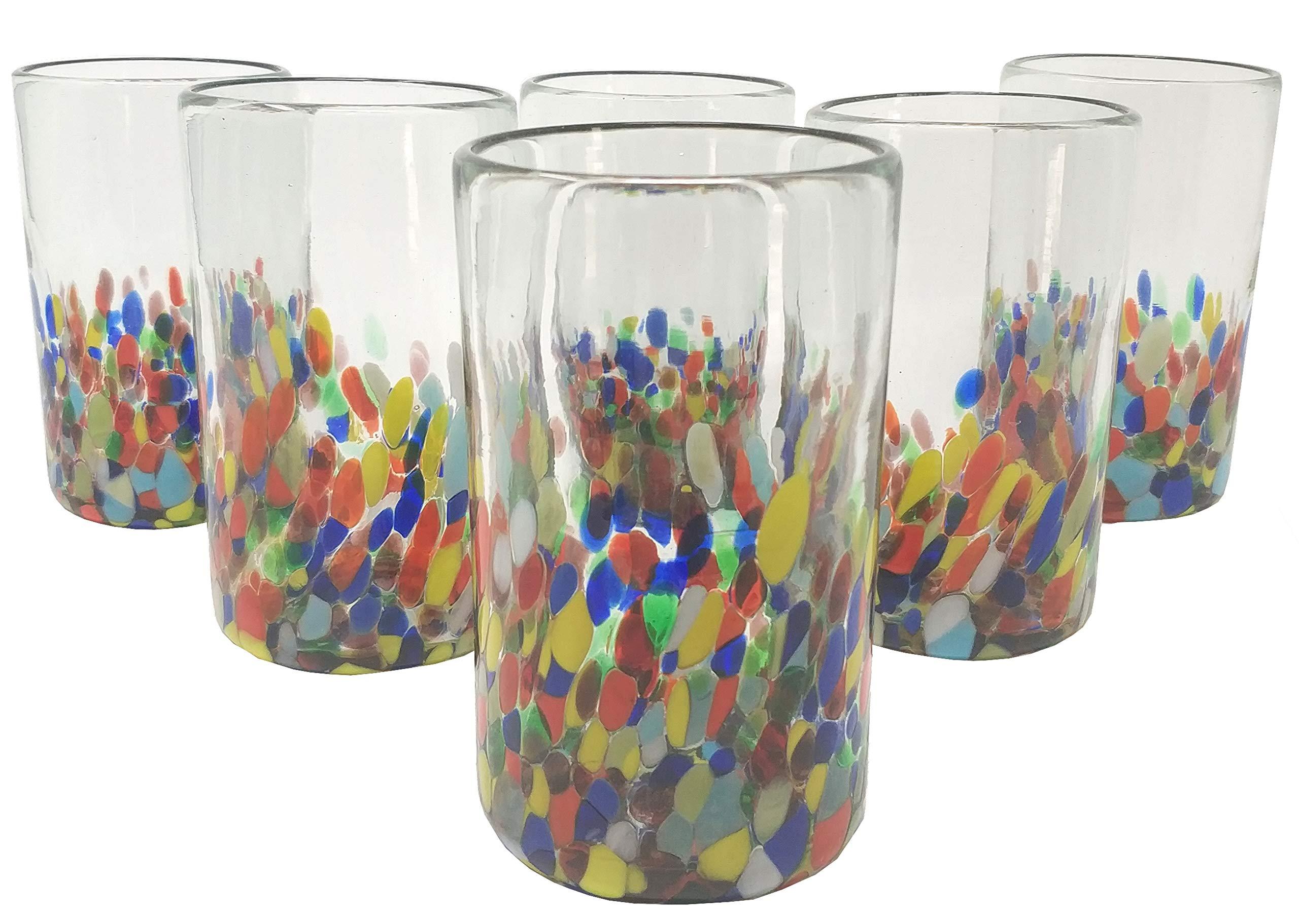 Hand Blown Mexican Drinking Glasses - Set of 6 Confetti Carmen Design Glasses (14 oz each)