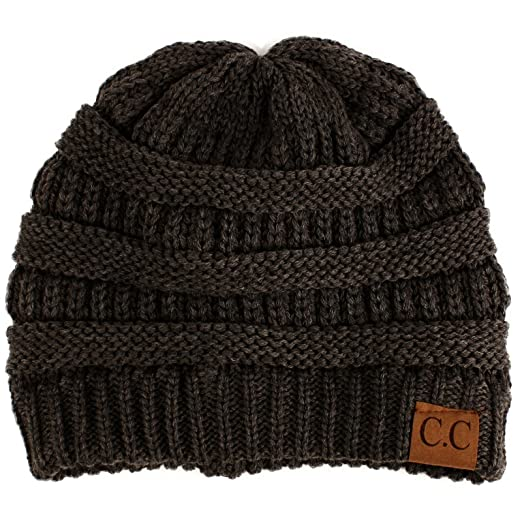 69ee28715 Unisex Winter Chunky Soft Stretch Cable Knit Slouch Beanie Skully Hat  Charcoal